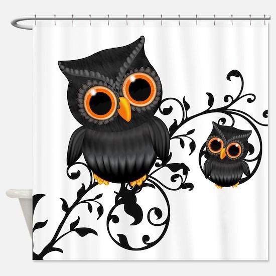 Cute Black And Orange Owls Shower Curtain