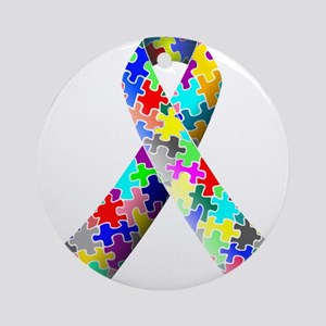 Autism Awareness Puzzle Ribbon Ornament (Round)