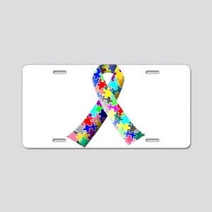 Autism Awareness Puzzle Ribbon Aluminum License Pl