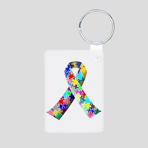 Autism Awareness Puzzle Ribbon Aluminum Photo Keyc