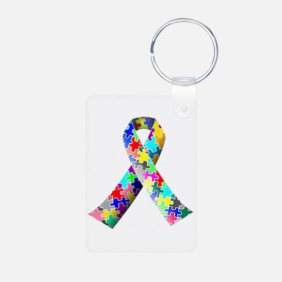 Autism Awareness Puzzle Ribbon Keychains