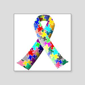 "Autism Awareness Puzzle Ribbon Square Sticker 3"" x"