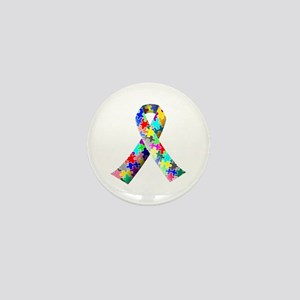Autism Awareness Puzzle Ribbon Mini Button