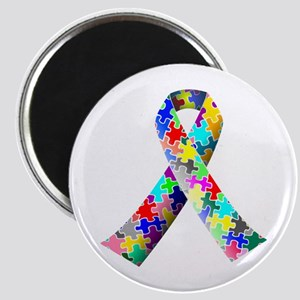 Autism Awareness Puzzle Ribbon Magnet