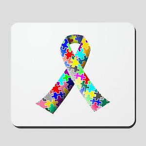 Autism Awareness Puzzle Ribbon Mousepad