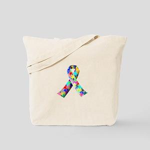 Autism Awareness Puzzle Ribbon Tote Bag