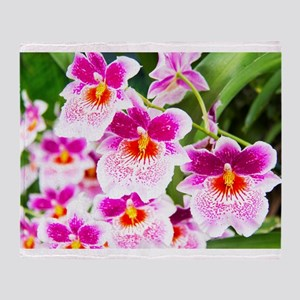 Cattleya White And Pink Orchids Throw Blanket