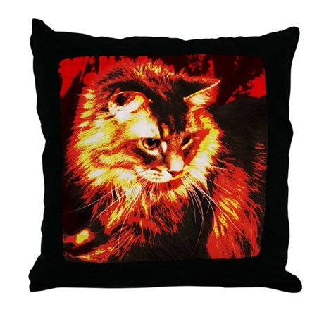 Stylized Maine Coon Cat Throw Pillow