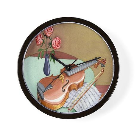 Music Teacher Violin Roses Wall Clock