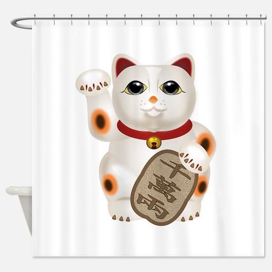 Kawaii Japanese Lucky Cat Shower Curtain