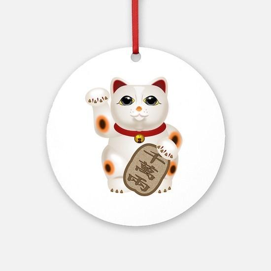 Kawaii Japanese Lucky Cat Round Ornament