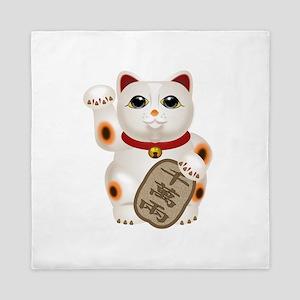 Kawaii Japanese Lucky Cat Queen Duvet