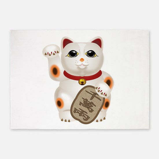 Kawaii Japanese Lucky Cat 5'x7'Area Rug