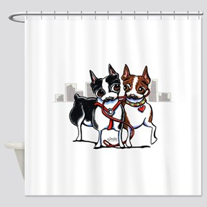 Bostons in the City Shower Curtain