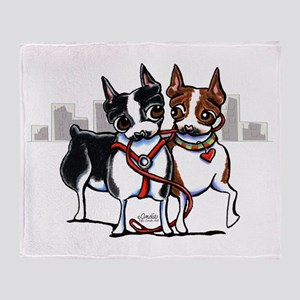 Bostons in the City Throw Blanket
