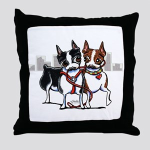 Bostons in the City Throw Pillow
