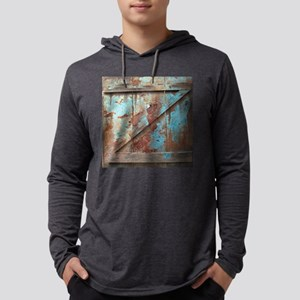 distressed turquoise barn wood Mens Hooded Shirt