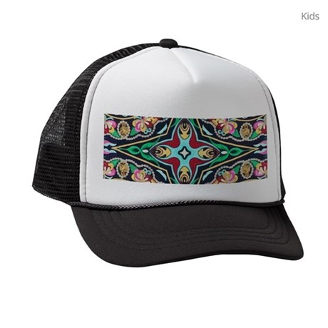 mexican embroidery floral bohemia Kids Trucker hat
