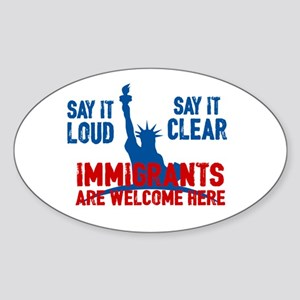 Immigrants Welcome Sticker (oval)