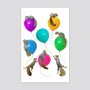 Squirrels Balloons Mini Poster Print