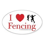 I Love Fencing Oval Sticker
