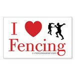 I Love Fencing Rectangle Sticker