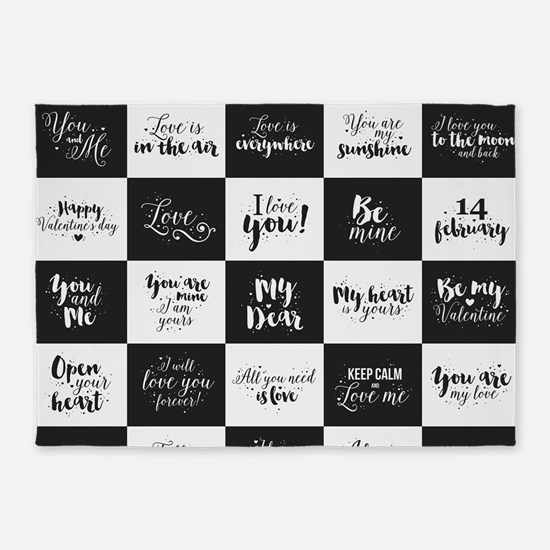 Love Black&White 5'x7'Area Rug