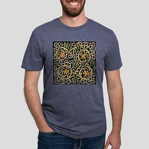 William Morris Black Floral Mens Tri-blend T-Shirt