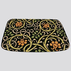 William Morris Black Floral Art Print Desi Bathmat