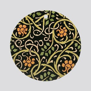 William Morris Black Floral Art Pri Round Ornament