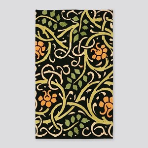 William Morris Black Floral Art Print Des Area Rug