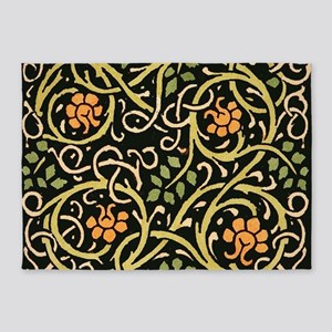 William Morris Black Floral Art Pri 5'x7'Area Rug