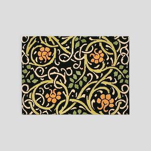 William Morris Black Floral Art Pri 5'x7'Area Rug