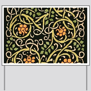 William Morris Black Floral Art Print De Yard Sign