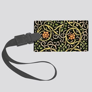 William Morris Black Floral Art Large Luggage Tag