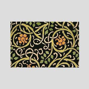 William Morris Black Floral Art Print Desi Magnets