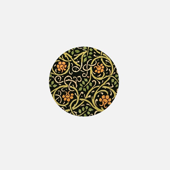 William Morris Black Floral Art Print Mini Button