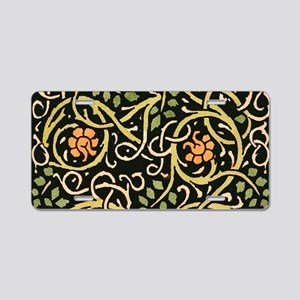 William Morris Black Floral Aluminum License Plate