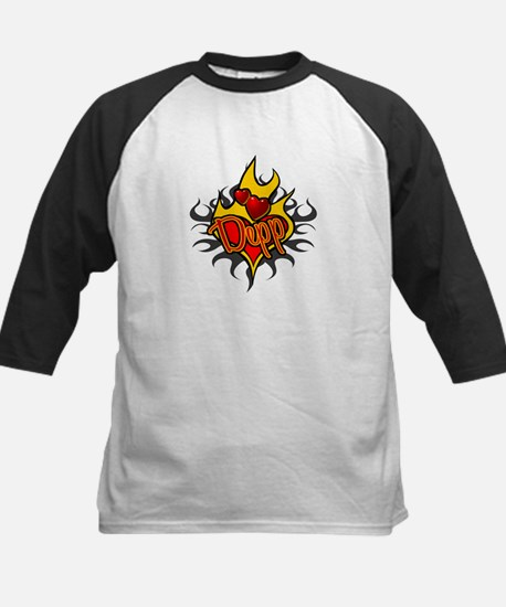 Depp Heart Flame Tattoo Kids Baseball Jersey