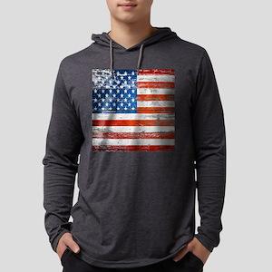 Primitive barnwood American Flag Mens Hooded Shirt