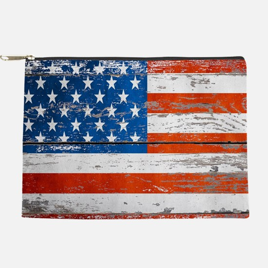 Primitive barnwood American Flag Makeup Pouch