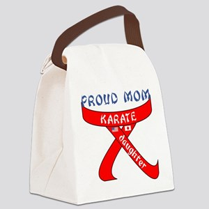 Proud Mom Karate Daughter Canvas Lunch Bag