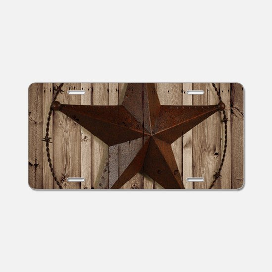 western texas star wood gra Aluminum License Plate