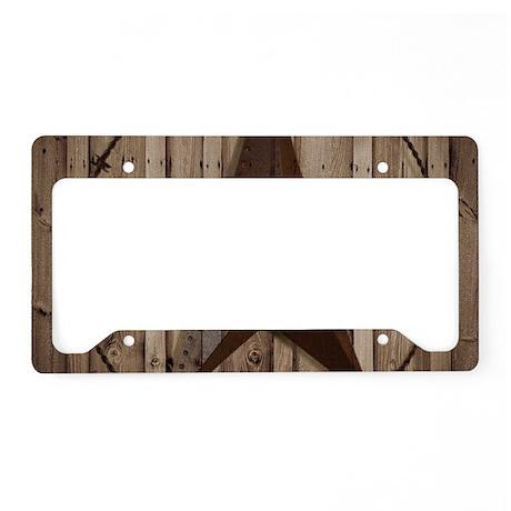 Western Texas Star Wood Grain License Plate Holder By
