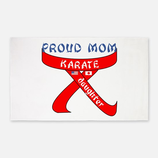 Proud Mom Karate Daughter 3'x5' Area Rug