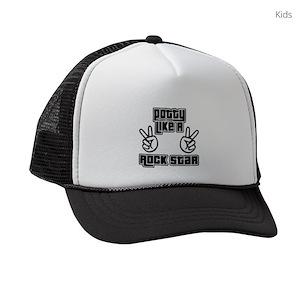 d93abb90132 Potty Like A Rock Star Kids Trucker Hats - CafePress