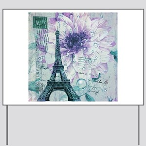 floral paris eiffel tower butterfly Yard Sign
