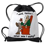 I Drink Therefore I Am Drawstring Bag