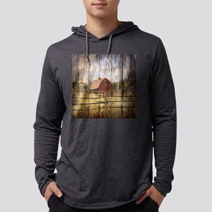 Woodgrain farm red barn Mens Hooded Shirt