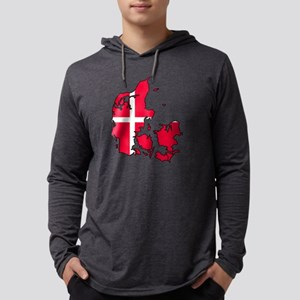 Denmark Map - Danish Flag Mens Hooded Shirt